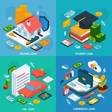 fondos negocios: Concepto de diseño Préstamos conjunto con estudiantes de vivienda y isométricos inversión coche iconos ilustración vectorial aislado Vectores