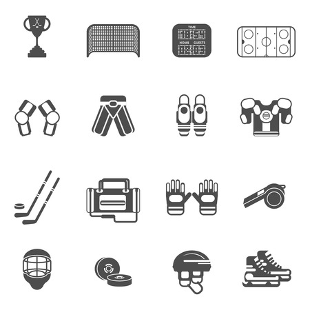 hockey games: Ice hockey black white icons set with gates uniform and cup flat isolated vector illustration
