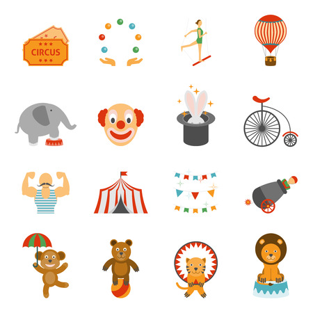 circus animals: Viajar iconos planos de rendimiento m�gica tienda chapiteau establecidos con clown y circo animales abstracto aislado ilustraci�n vectorial