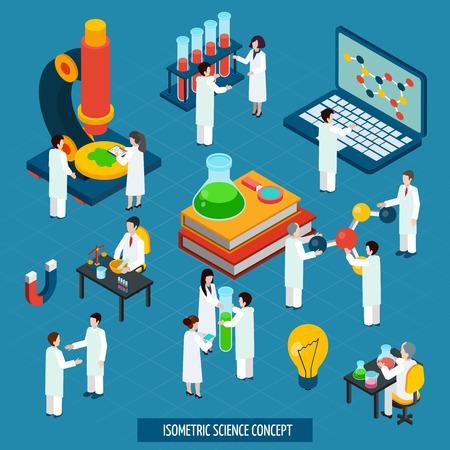 microscopio: Científico concepto de investigación composición isométrica de laboratorio de química bio con el ordenador portátil y el microscopio cartel abstracto ilustración vectorial
