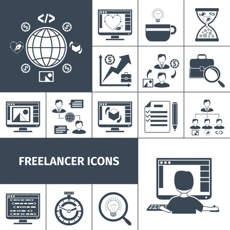 business people meeting: Freelancer workflow and business process icons black set isolated vector illustration