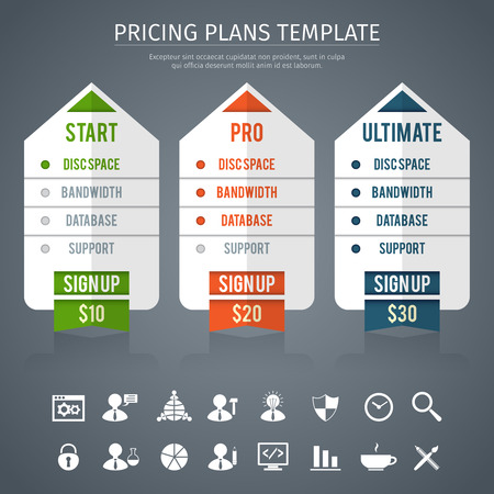 ultimate: Pricing plan template with start pro and ultimate  rates on grey background flat vector illustration Illustration