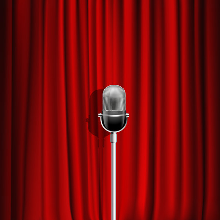 stage set: Microphone and red curtain realistic background as stage symbol vector illustration