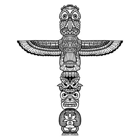 indio americano: Doodle tótem religioso indio tradicional aislada sobre fondo blanco ilustración vectorial