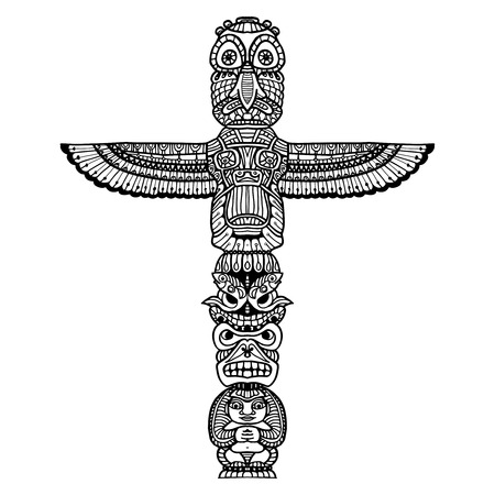 native bird: Doodle traditional indian religious totem isolated on white background vector illustration