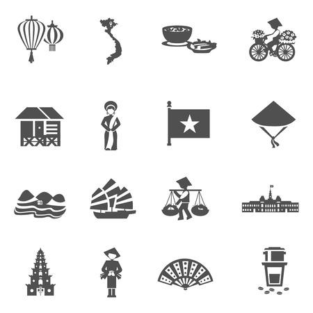 Culture vietnamienne icônes blanches noir serti de fleurs café et ventilateur plat isolé illustration vectorielle Banque d'images - 44389543