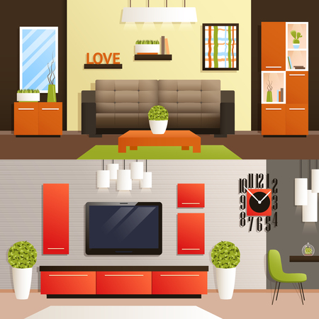 tvset: Living room horizontal banner set with flat furniture isolated vector illustration
