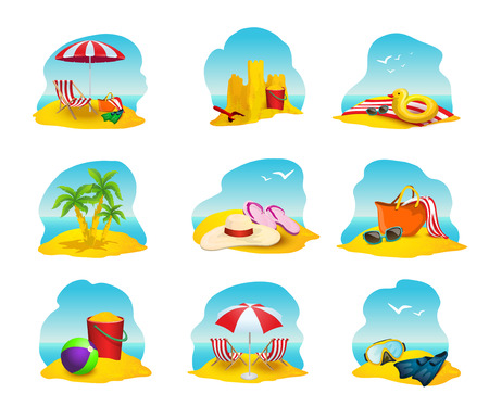 Beach and summer cartoon icons set with umbrella sandcastle and palms isolated vector illustration