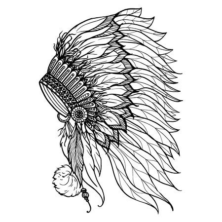 indio americano: Tocado Doodle de jefe indio nativo americano aislado en el fondo blanco ilustración vectorial
