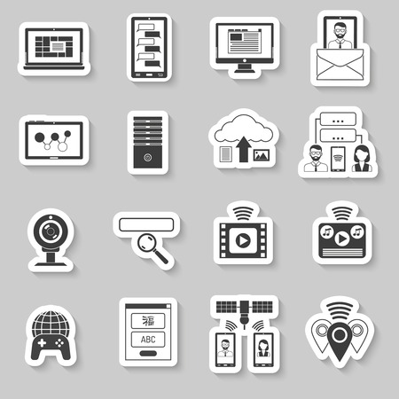 users video: It and information technologies paper stickers set isolated vector illustration Illustration