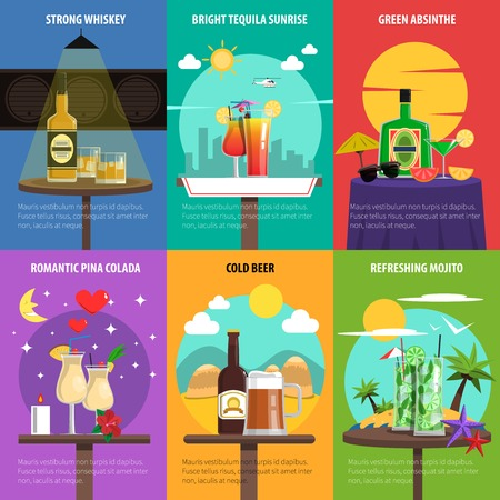 mini bar: Cocktail mini poster set with strong alcohol drinks isolated vector illustration