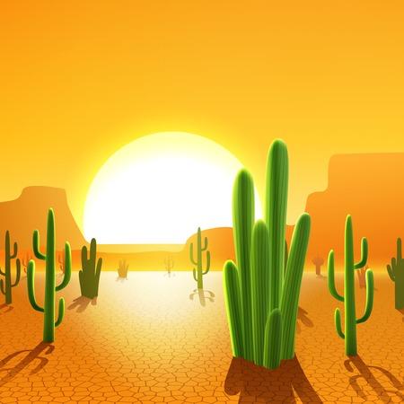 sol caricatura: Plantas de cactus en el desierto mexicano con el sol naciente en el fondo ilustración vectorial Vectores
