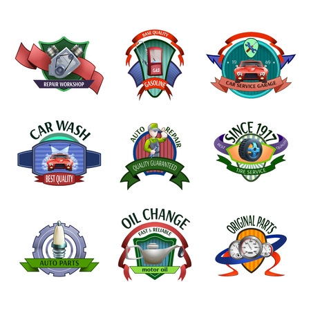 mechanic: Auto mechanic diagnostics and car maintaining service center emblems and labels icons set abstract vector isolated illustration