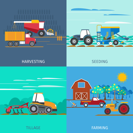 tillage: Farming machines icons set with harvesting seeding and tillage flat isolated vector illustration