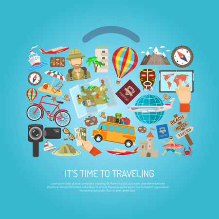 resort: Time to traveling text attribution symbols and character flat color concept vector illustration