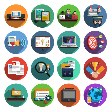 recruiting: Freelance recruitment agency for temporary independent creative professional work flat icons set round abstract isolated vector illustration