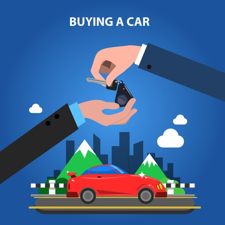 sell: Buying a car concept with one hand giving keys to another flat vector illustration