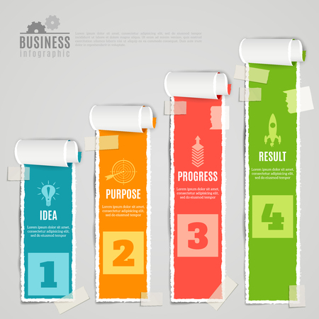 taped: Paper taped staged idea purpose progress result color infographic set realistic 3d vector illustration