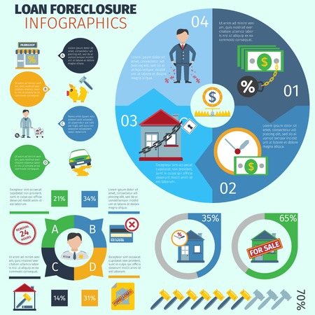 loan: Loan foreclosure infographics with debt crisis symbols and charts vector illustration