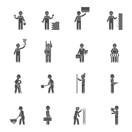 Builders and worker welder bricklayer handyman and plasterer silhouette flat black icon set isolated vector illustration Illustration