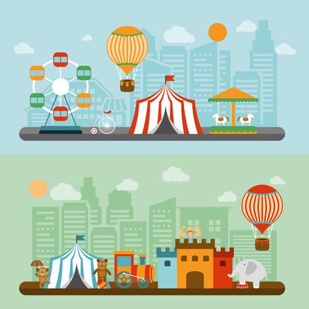 circo: Viajar chapiteau carpa de circo en la ciudad banderas planas nostálgicos conjunto con el elefante y el hombre fuerte del vector aislados ilustración Vectores