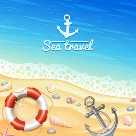 vector illustration: Marine and sea travel realistic background with seashells anchor and beach vector illustration
