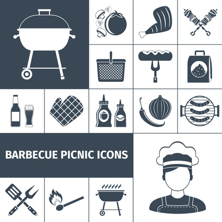 family isolated: Summer weekend bbq picnic backyard  party with family and friends black icons set abstract vector isolated  illustration. Editable EPS and Render in JPG format