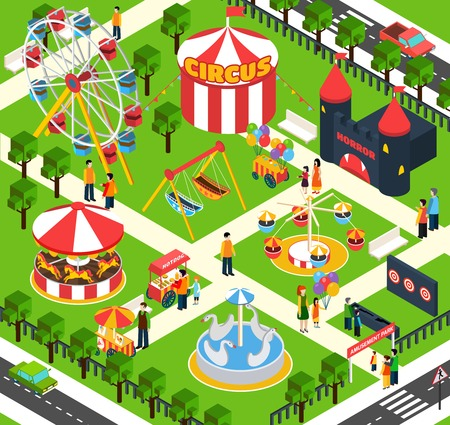 amusement park rides: Amusement park isometric with 3d people figures and oudoors objects vector illustration