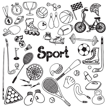 Doodle sport equipment set with soccer ball timer fitness weight vector illustration