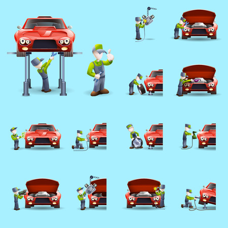 mechanic cartoon: Auto mechanic cartoon character performing full car service abstract colorful isolated icons set abstract vector isolated illustration
