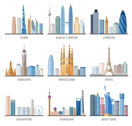 tall buildings: Famous capitals and cities characteristic downtown business center edifice buildings silhouettes day skyline abstract isolated vector illustration