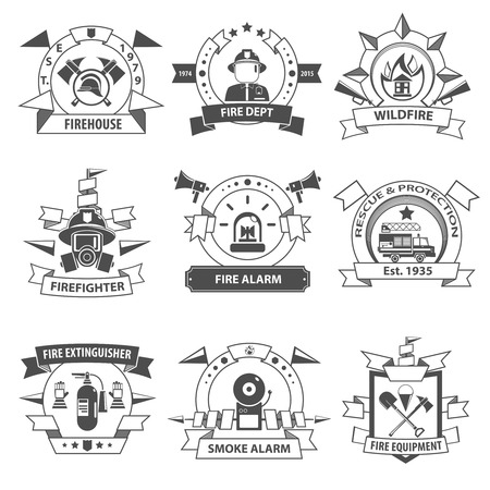 Fire department rescue and protection service black label set isolated vector illustration