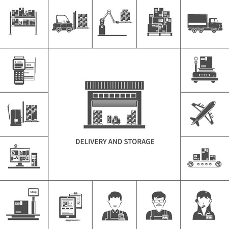logistic: Warehouse delivery and storage icons black set isolated vector illustration