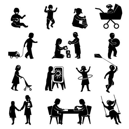 дети: Дети черные силуэты играющие в активные игры установить Отдельные векторные иллюстрации