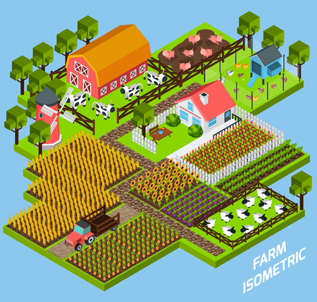 constructive: Farm complex constructive toy blocks composition with farmhouse backyard surrounded by fiels and pasture isometric vector illustration