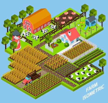 juguetes: Granja compleja composición bloques de juguete constructivas con patio trasero casa de campo rodeada de fiels y pastos isométrica ilustración vectorial