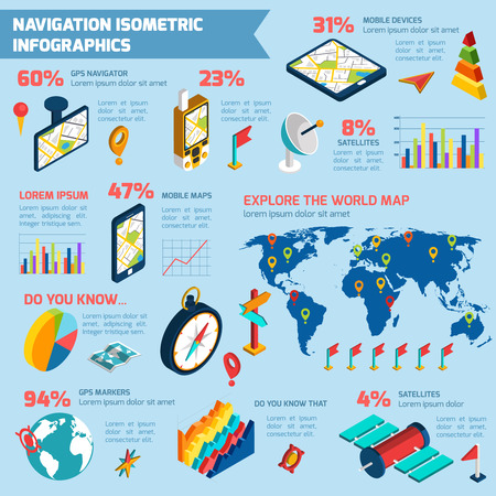 routing: World exploring with modern computer navigation gps system infographic  layout presentation poster isometric design abstract vector illustration