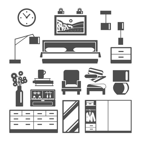 bedroom bed: Bedroom furniture black white icons set with armchair bed and wardrobe flat isolated vector illustration