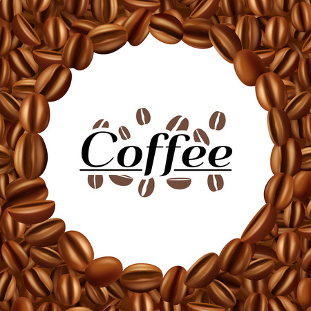 espresso: Dried and roasted aromatic arabic espresso coffee beans frame background  kitchen bar decoration pattern abstract vector illustration