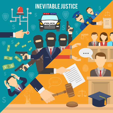 Heist with robbers and police than court and inevitability of justice flat color seamless concept vector illustration Vectores