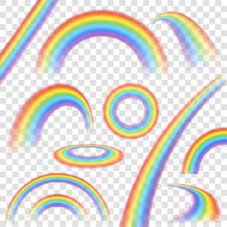 joy: Rainbows in different shape realistic set on transparent background isolated vector illustration