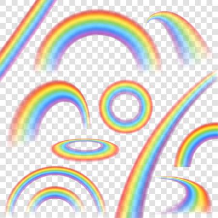Regenbogen in verschillende vorm realistische set op transparante achtergrond geïsoleerd vector illustratie
