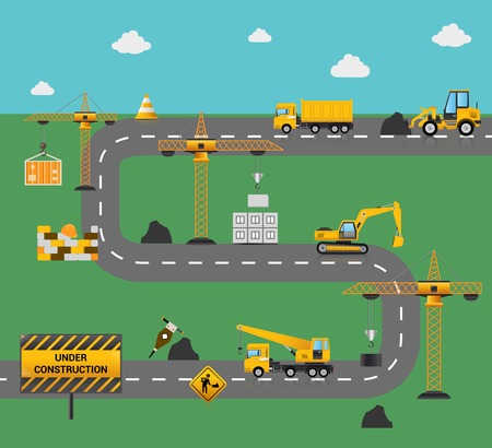 road construction: Road construction concept with industrial machinery and equipment vector illustration