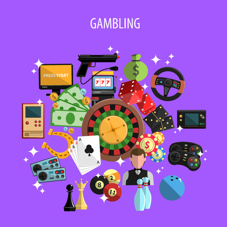 casino wheel: Gambling and games concept with roulette cards and bowling on violet background flat vector illustration