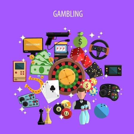 violet background: Il gioco d'azzardo e giochi di concetto con carte di roulette e bowling su sfondo viola illustrazione vettoriale piatta Vettoriali