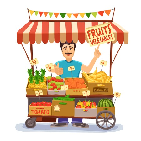 seller: Street seller with stall with fruits and vegetables vector illustration