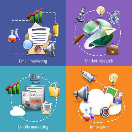 Innovative digital mobile mail marketing service successful business ideas 4 flat icons composition abstract isolated vector illustration Çizim