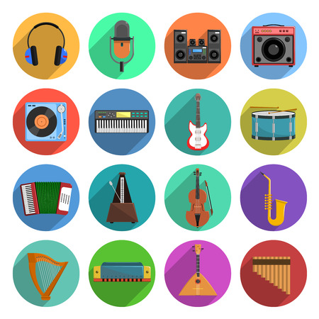 music: Melody and music round shadow icons set with musical instruments flat isolated vector illustration