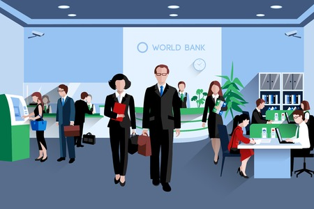 receptionist: Customers and staff people in bank interior flat vector illustration