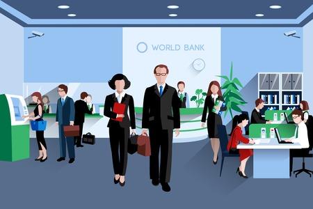 seguridad en el trabajo: Los clientes y los empleados en el banco interior ilustraci�n vectorial plana